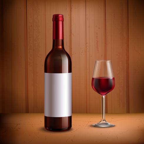Modelo de garrafa de vinho com copo de vinho tinto vetor