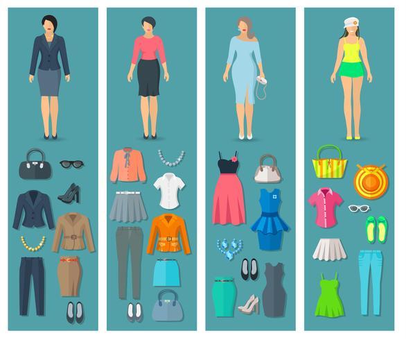 Banners verticais conjunto de ícones de roupas de mulher plana vetor