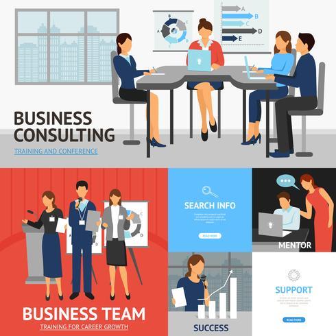 Banners conjunto de treinamento de negócios vetor