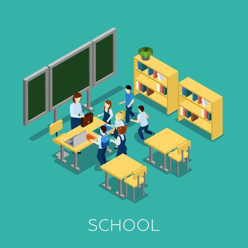 Escola E Ilustração De Aprendizagem vetor
