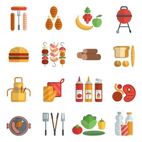 Conjunto de ícones plana de festa de churrasco vetor