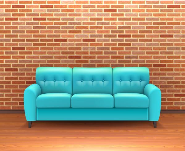 Interior de parede de tijolo com sofá realista vetor