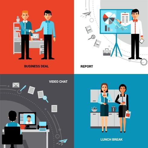Pessoas negócio, 4, apartamento, ícones, Composição vetor