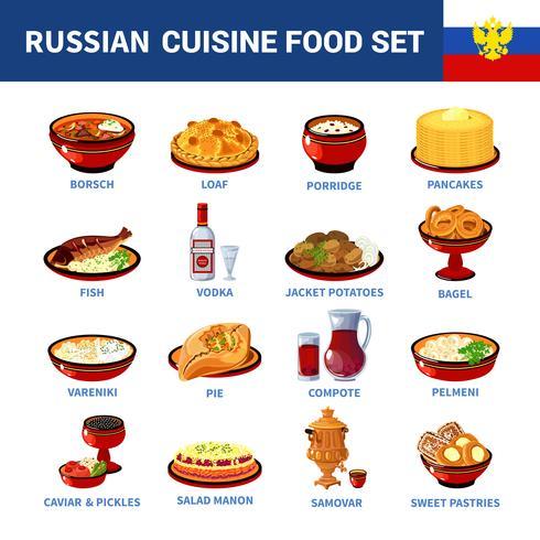 Coleção de ícones plana de pratos de culinária russa vetor