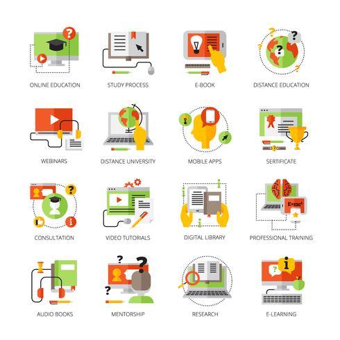 Conjunto de pictogramas de cor plana de educação on-line vetor