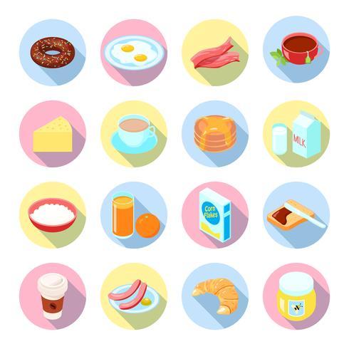 Conjunto de ícones plana de café da manhã vetor