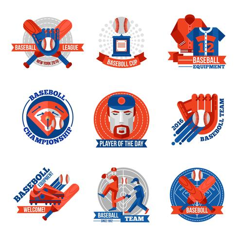 Conjunto de emblemas de beisebol vetor