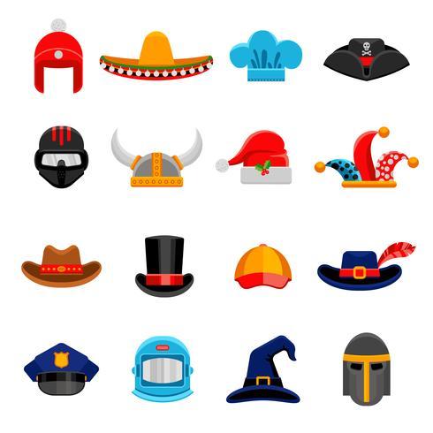 Conjunto de ícones plana engraçado Headwear vetor
