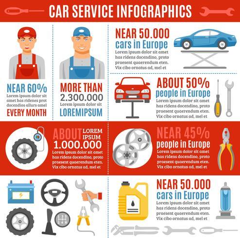 Banner de infográfico plano de serviço de reparação de automóveis vetor