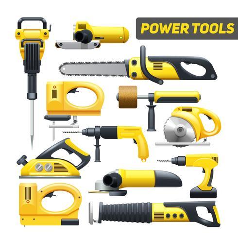 Coleção de pictogramas preto amarelo de ferramentas de poder vetor