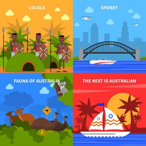Conjunto de ícones do conceito de Austrália vetor