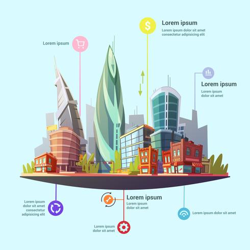 Cidade moderna no centro conceito infográfico Poster vetor