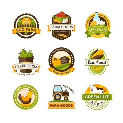 Emblemas de fazenda de alimentos orgânicos vetor