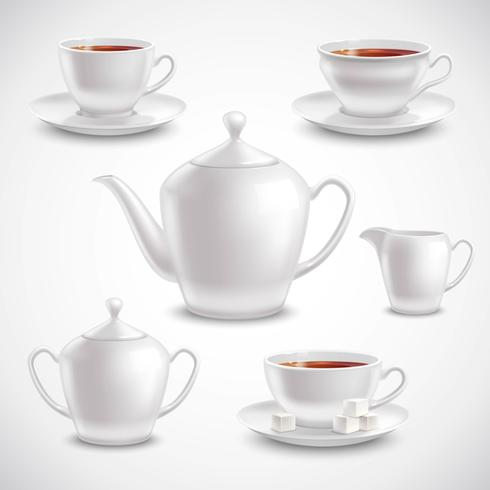 Jogo de chá realista vetor