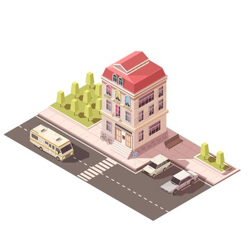 Maquete isométrica de casa residencial vetor