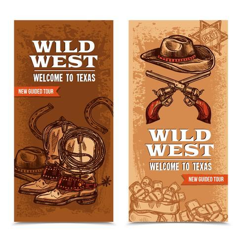 Banners Verticais Cawboy Wild West vetor