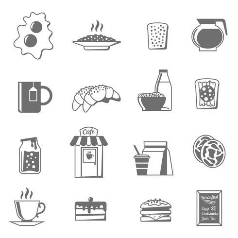 Conjunto de ícones branco preto café da manhã vetor
