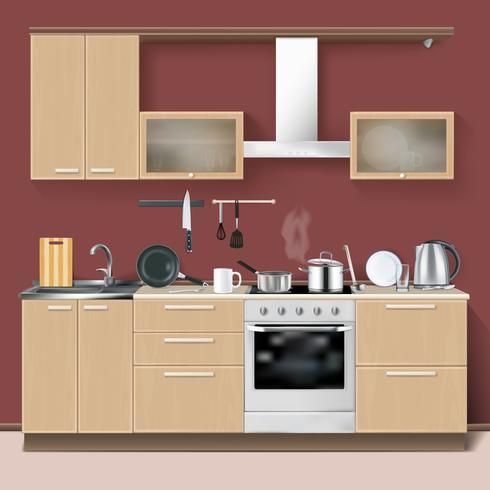 Interior de cozinha realista vetor