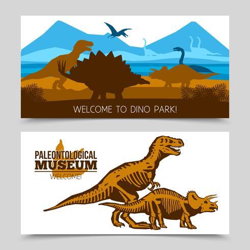 Banners horizontais de dinossauros vetor