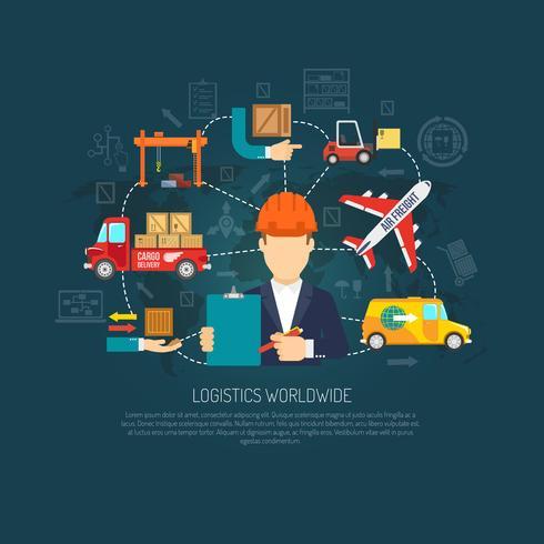 Fluxograma do conceito de operações logísticas em todo o mundo vetor