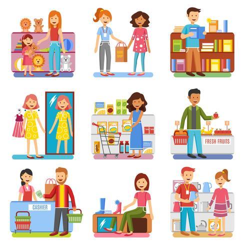 Coleção de PIctograms plana de compras família conceito vetor