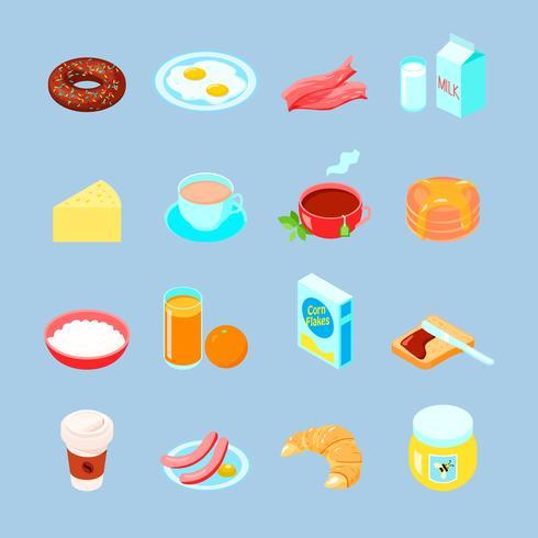 Conjunto de ícones plana de comida e bebidas de café da manhã vetor