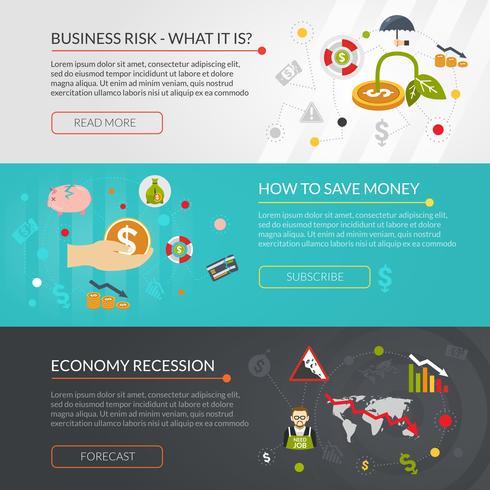 Conjunto de Banners interativos plana de crise financeira vetor