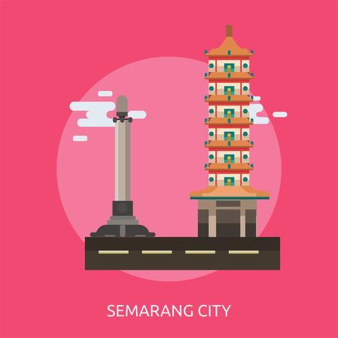 Cidade de Semarang da Indonésia ilustração conceitual Design vetor