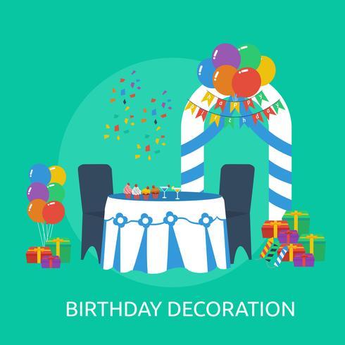 Ilustração conceitual de decoração de aniversário vetor
