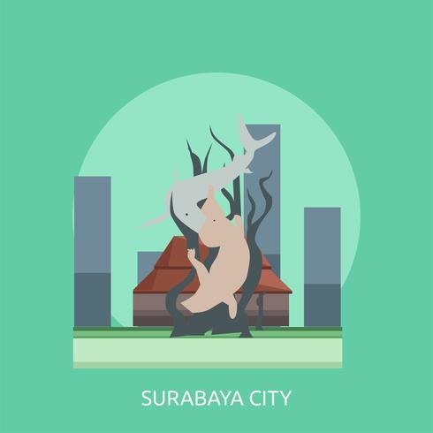 Ilustração conceitual da cidade de Surabaya vetor