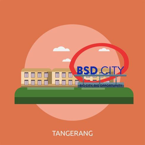 Cidade de Tangerang da Indonésia ilustração conceitual Design vetor