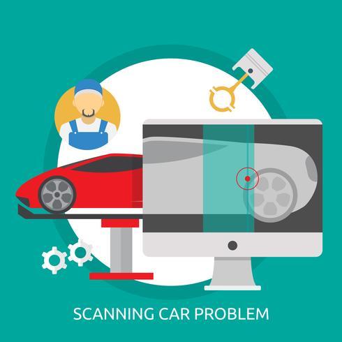 Scanning Car Problem Ilustração conceitual Design vetor
