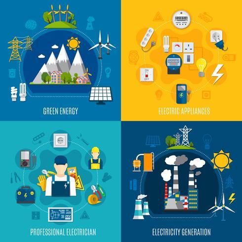 Composições planas da eletricidade vetor