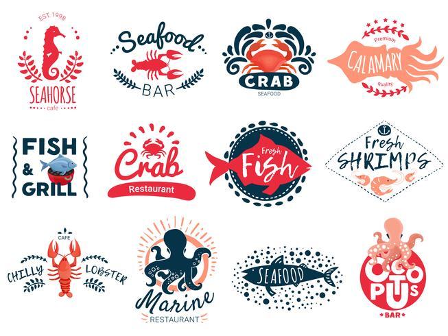 Coleção de emblemas criativas de frutos do mar vetor
