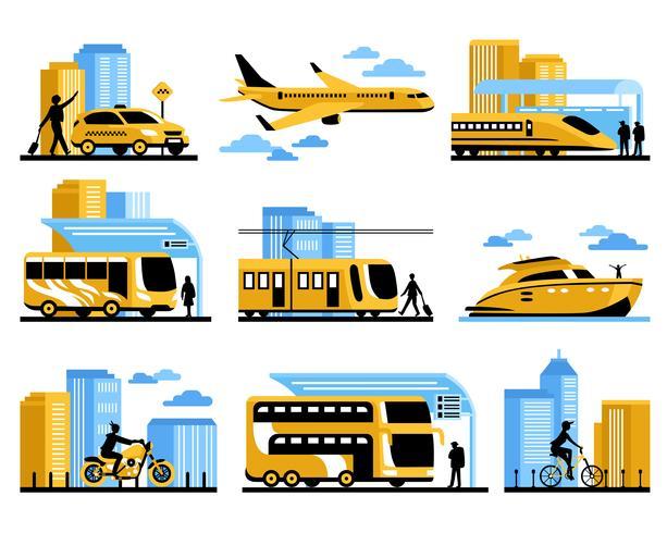 Pessoas viajando isolaram conjunto de ícones decorativos vetor