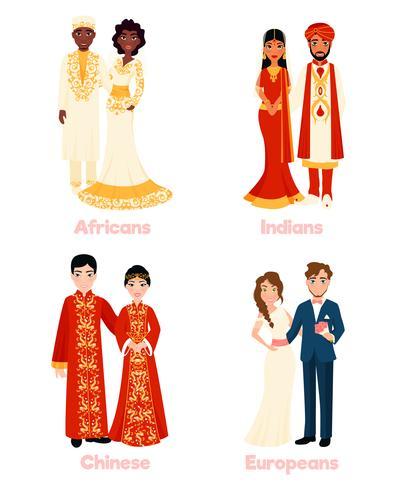 Casais de casamento multicultural vetor