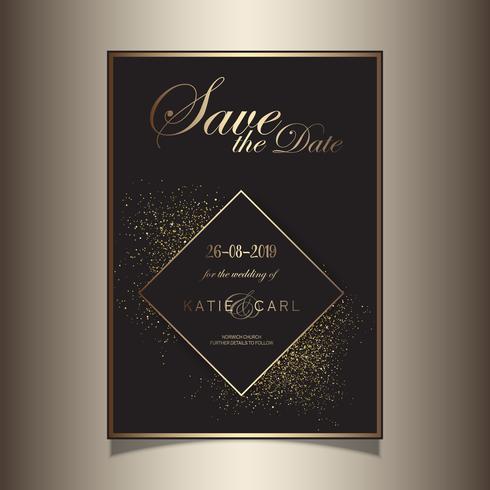 Brilho de ouro salvar o design de convite de data vetor