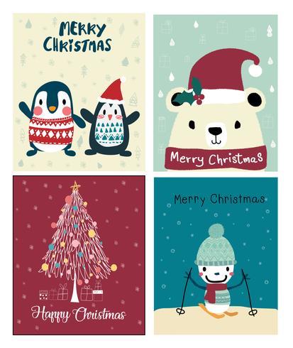 conjunto de cartão bonito de Natal vetor