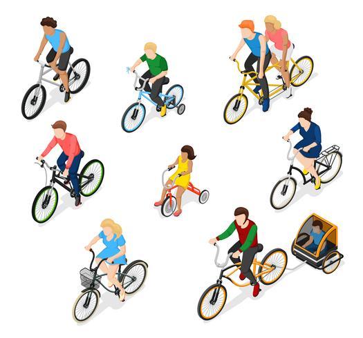 Conjunto de caracteres de ciclistas vetor