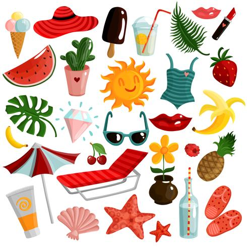 Conjunto de acessórios de verão vetor