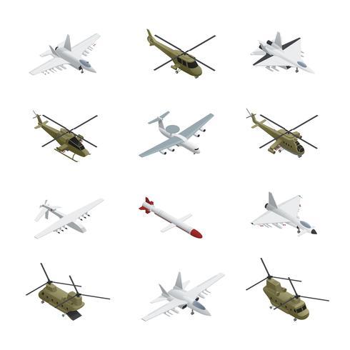 Conjunto de ícones isométrica da força aérea militar vetor