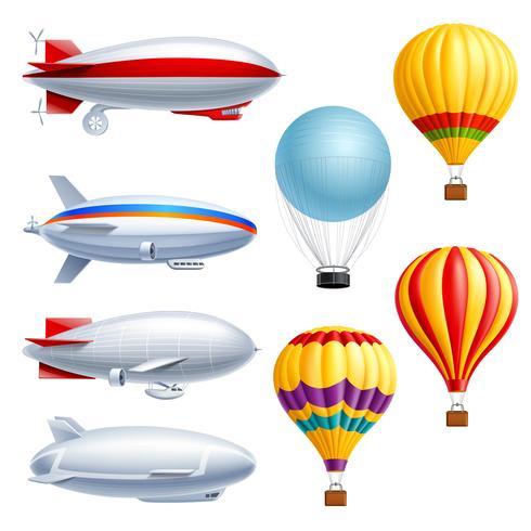 Conjunto de ícones realista de dirigível vetor
