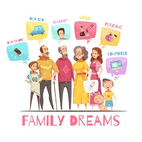 Família sonhando conceito de Design vetor