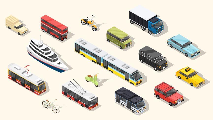 Coleção de veículos de transporte público vetor