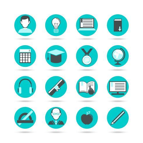 Conjunto de ícones plana de aprendizagem vetor