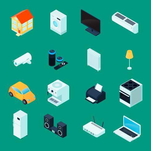 Conjunto de ícones isométrica casa inteligente vetor