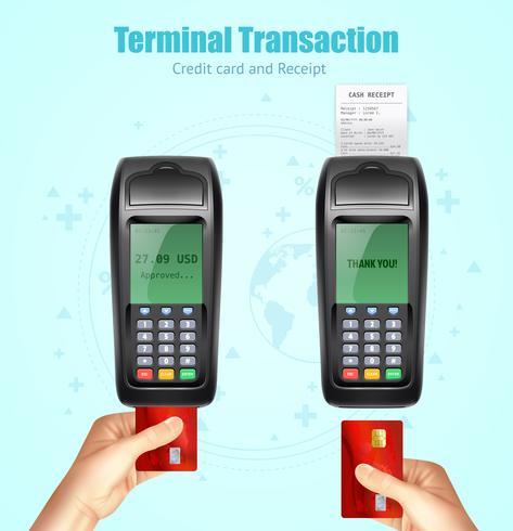 Conjunto de recebimento de pagamento com cartão de banco de crédito vetor