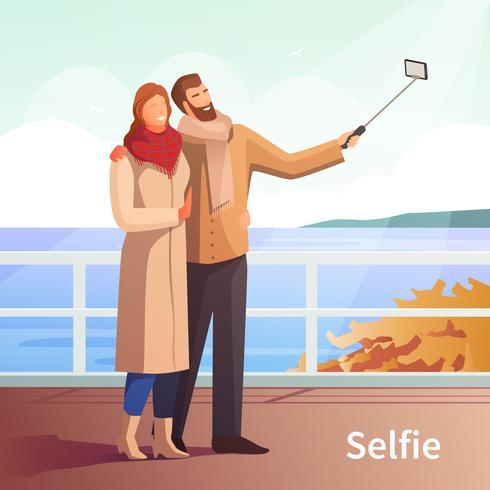 Fundo de Selfie de passeio de outono vetor