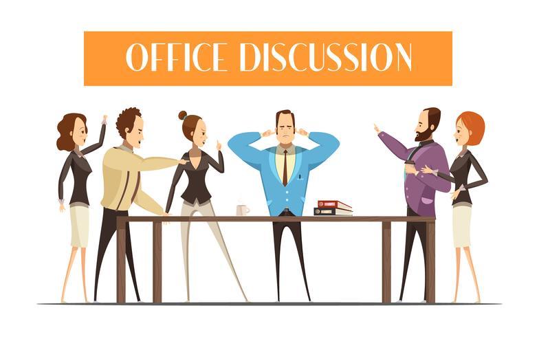 Discussão de escritório Cartoon ilustração de estilo vetor