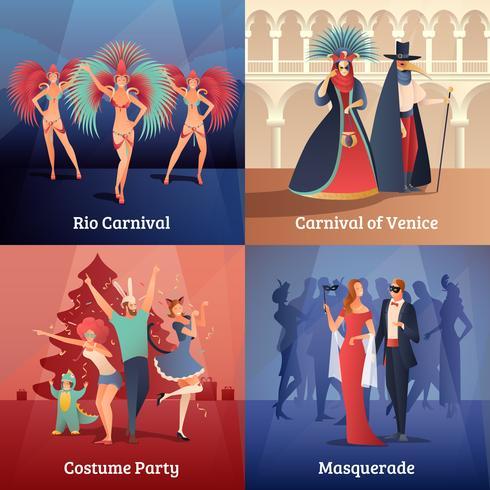 Conjunto de ícones de conceito de festa de carnaval vetor